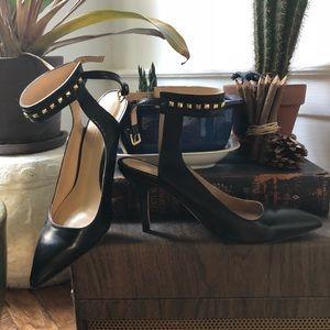 Zara Black Pointed Heel w/ Gold Studded Strap SZ 6